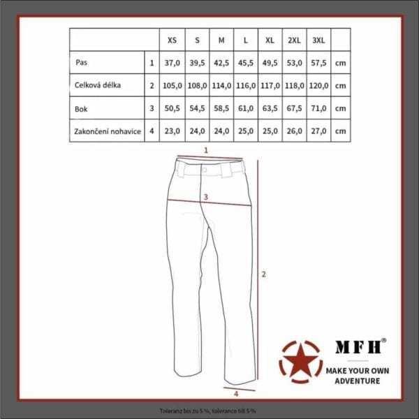 Kalhoty SECURITY černé zateplené MFH Max Fuchs AG - tabulka velikostí