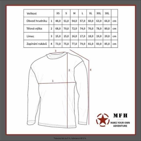 Tabulka velikostí - Nátělník lehký termo černý MFH MAX FUCHS AG
