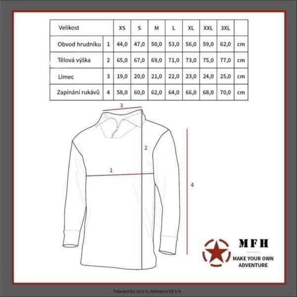 Tabulka velikostí - Nátělník zimní termo černý MFH MAX FUCHS AG