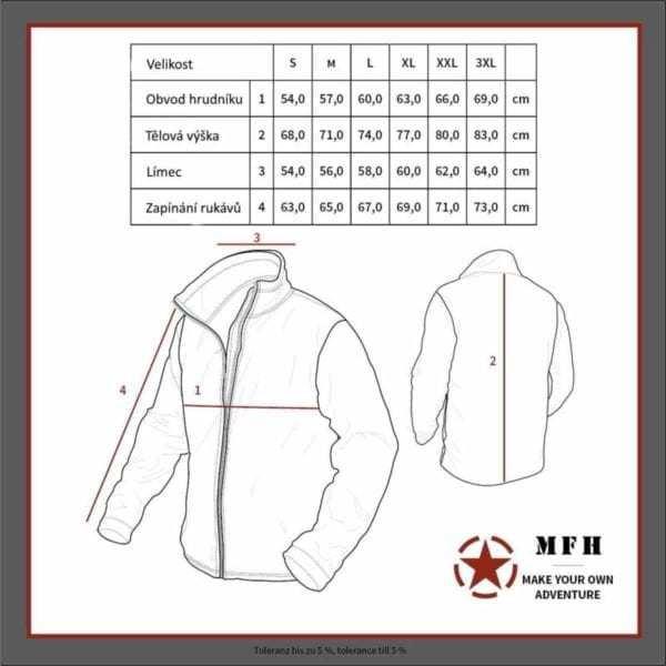 Tabulka velikostí - Softshellová bunda MFH Scorpion ve vzoru AČR VZOR 95 CZ