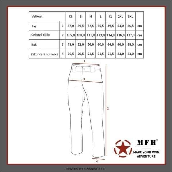 Kalhoty US střih BDU ČERNÉ SECURITY MFH Max Fuchs AG - tabulka velikostí