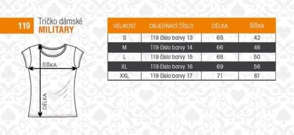 MASKÁČOVÉ TRIČKO DÁMSKÉ MILITARY CAMOUFLAGE ALEX FOX - tabulka velikostí