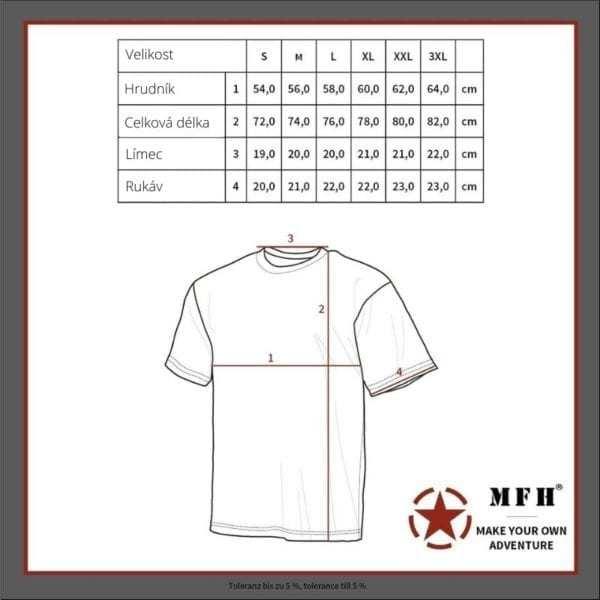 Maskáčové tričko vzor METRO URBAN kr. rukáv 160GM2 MAX FUCHS AG MFH - tabulka velikostí