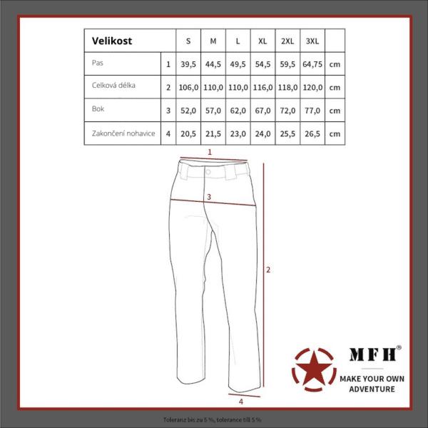 KALHOTY BDU V MASKOVACÍM PROVEDENÍ VZOR 95 RIP-STOP MAX FUCHS AG MFH - tabulka velikostí