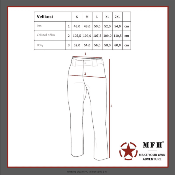 Kalhoty multifunkční odepínací z multivlákna khaki Fox Outdoor - tabulka velikostí